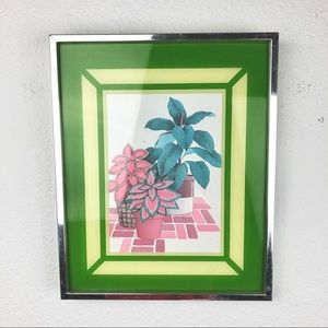 VINTAGE 80's Botanical Plant Wall Art Work Framed